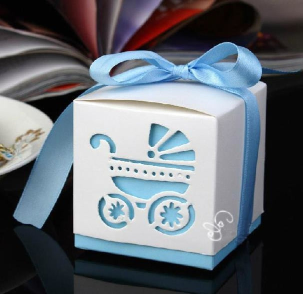 Rickshaw Hollow Out With Ribbon Favor Holders | Bridelily - Sky blue - favor holders