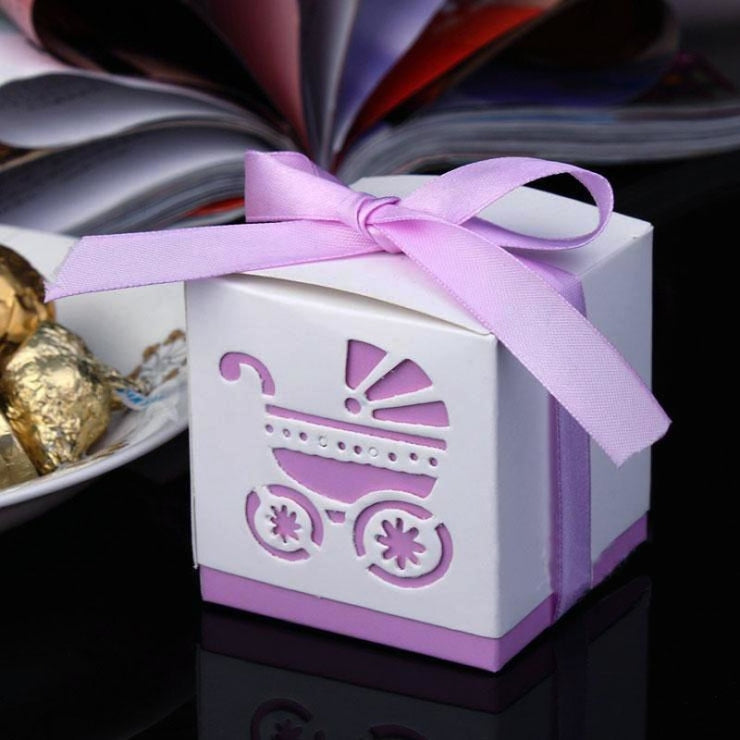 Rickshaw Hollow Out With Ribbon Favor Holders | Bridelily - Purple - favor holders