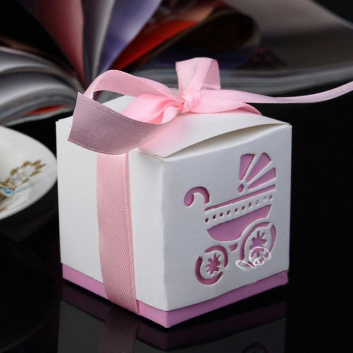 Rickshaw Hollow Out With Ribbon Favor Holders | Bridelily - Pink - favor holders