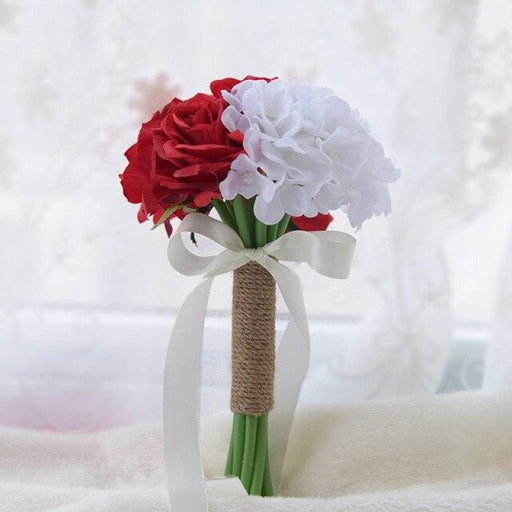 Romantic Artificial Rose with Ribbon Wedding Bouquet | Bridelily - red white rose - wedding flowers
