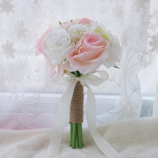 Romantic Artificial Rose with Ribbon Wedding Bouquet | Bridelily - pink white rose - wedding flowers