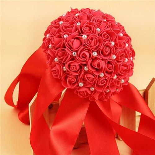 Romantic Flower Rose Handmade Wedding Bouquets | Bridelily - Red - wedding flowers