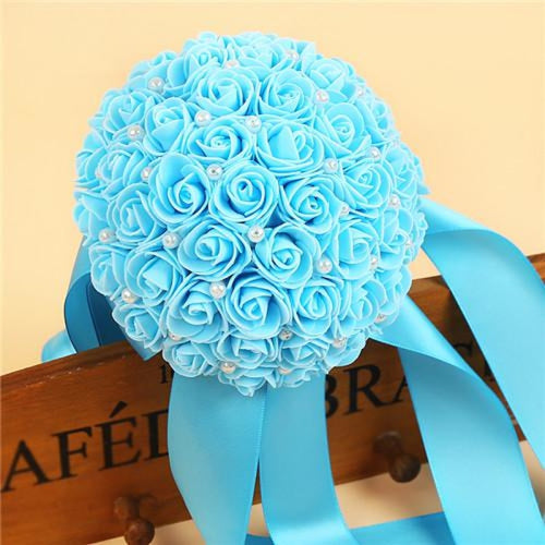 Romantic Flower Rose Handmade Wedding Bouquets | Bridelily - water blue - wedding flowers
