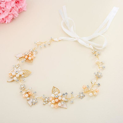 Romantic Handmade Leaves Pearls Headbands | Bridelily - Gold - headbands