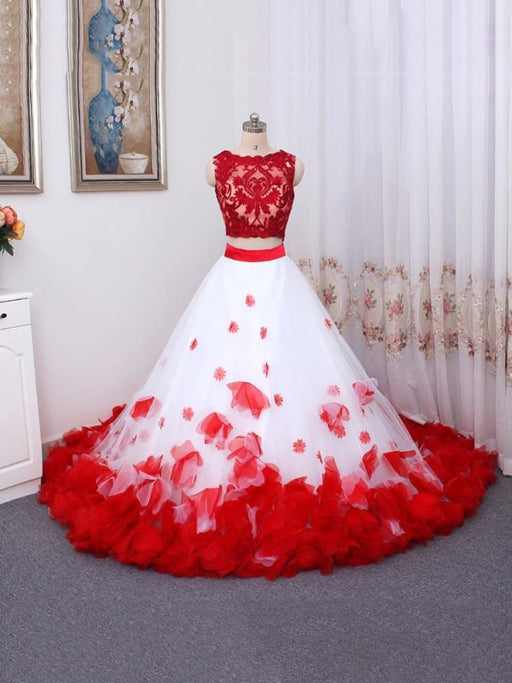 Romantic Lace Flower Beach Tulle Wedding Dresses - As Picture / Floor Length - wedding dresses