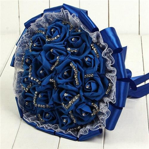Romantic Lace Rose Flower Wedding Bouquets | Bridelily - royal blue - wedding flowers