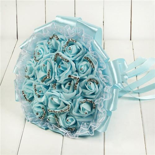 Romantic Lace Rose Flower Wedding Bouquets | Bridelily - light blue - wedding flowers