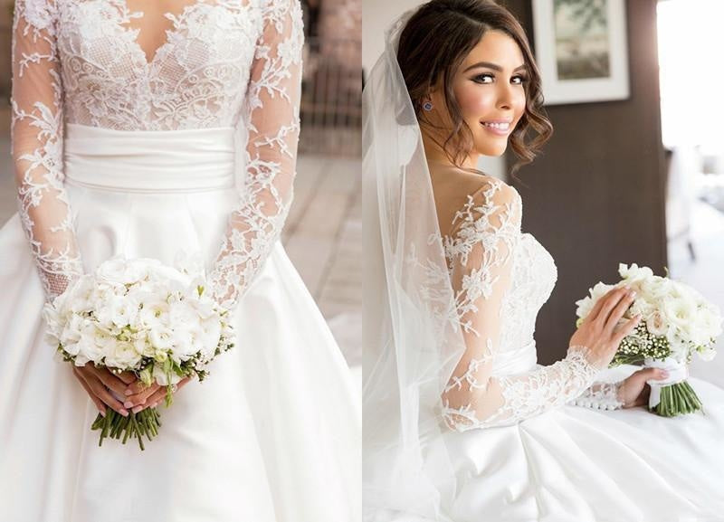 Romantic Lace Satin Skirt with Long Sleeves Illusion Back Wedding Dress - Wedding Dresses