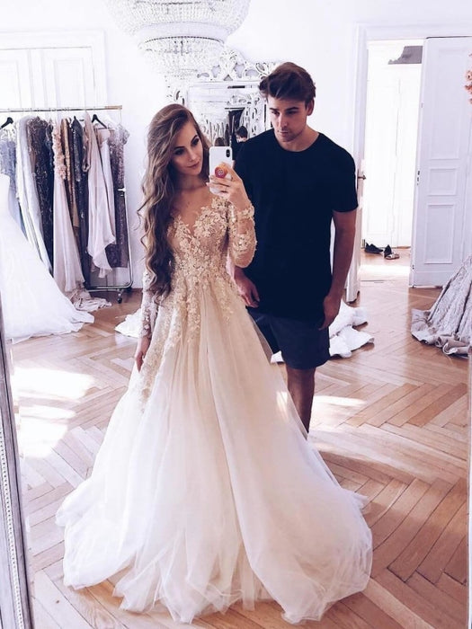 Romantic Long Sleeves Appliques Ruffles Wedding Dresses - wedding dresses