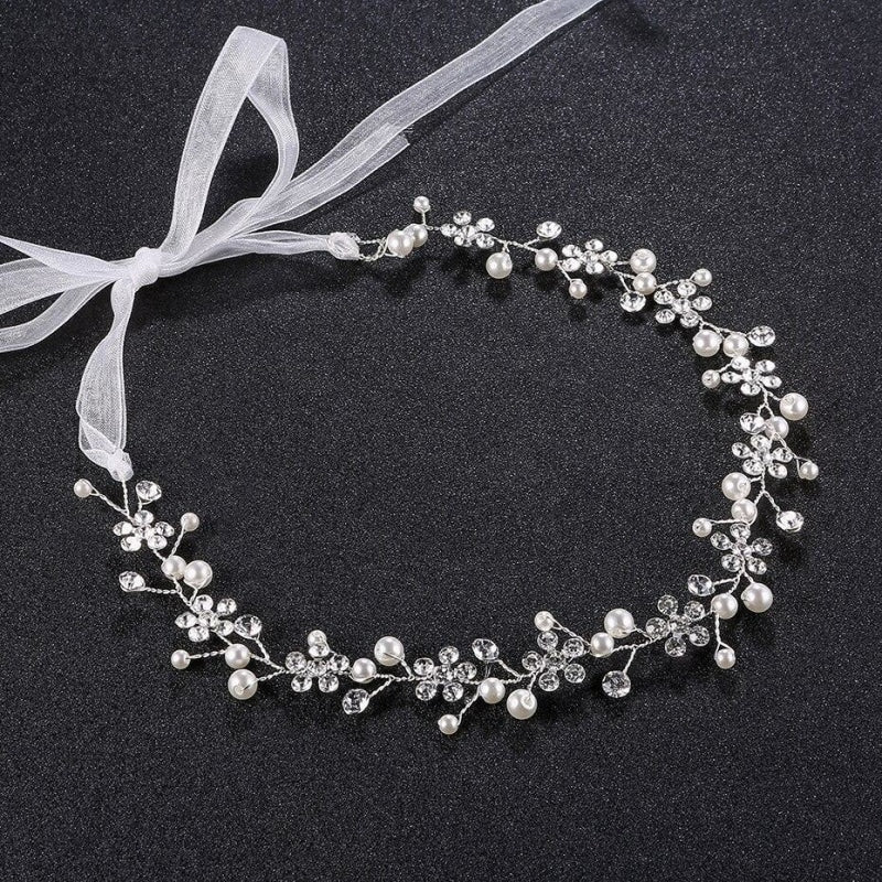Romantic Pearl Flower Handmade Headbands | Bridelily - Silver Plated - headbands