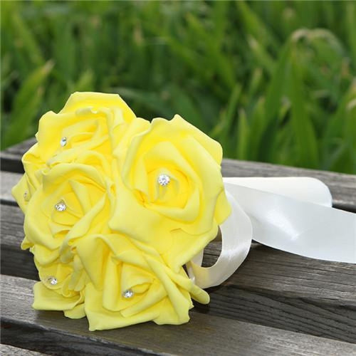 Romantic Ribbon Flower Rose Wedding Bouquets | Bridelily - yellow - wedding flowers