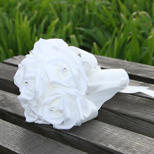 Romantic Ribbon Flower Rose Wedding Bouquets | Bridelily - white - wedding flowers