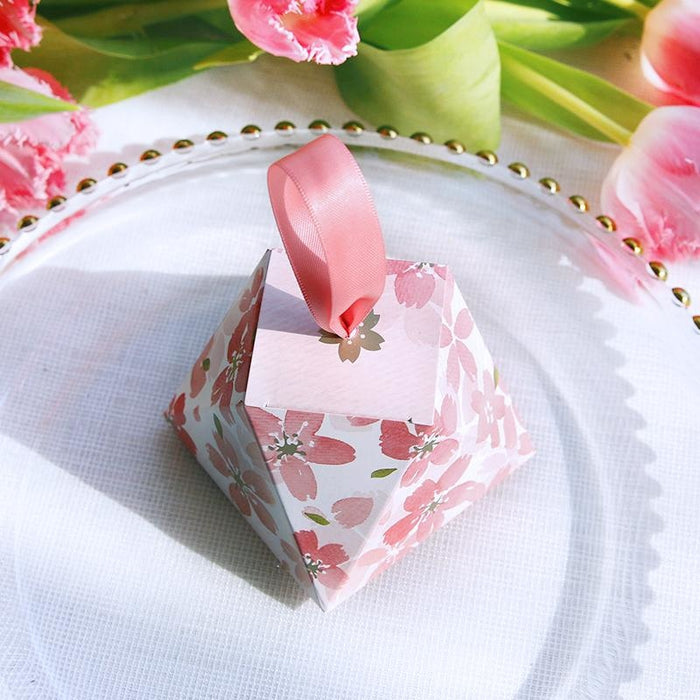 Romantic Sakura Diamond Ribbon Favor Holders | Bridelily - favor holders