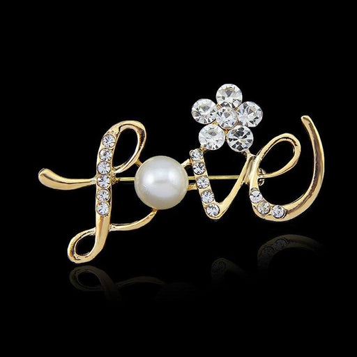 Romantic Style Love Letter Pearl Bridal Brooches | Bridelily - brooches