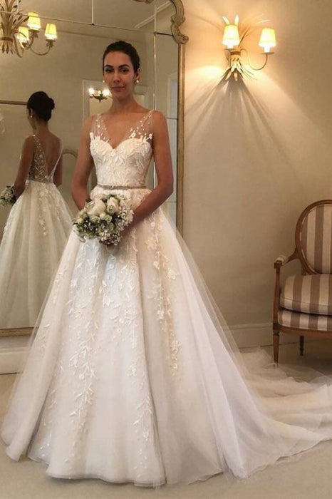 Romantic V Neck Beach with Lace Appliques A Line Wedding Dress - Wedding Dresses