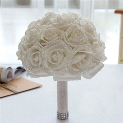 Rose Artificial Flower Wedding Bouquets | Bridelily - white - wedding flowers