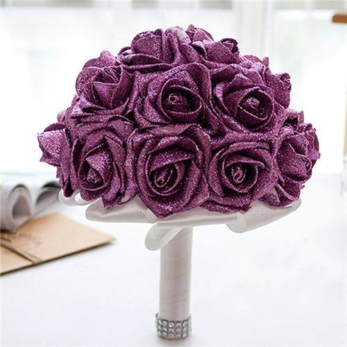 Rose Artificial Flower Wedding Bouquets | Bridelily - purple - wedding flowers