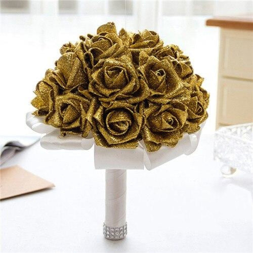 Rose Artificial Flower Wedding Bouquets | Bridelily - gold - wedding flowers