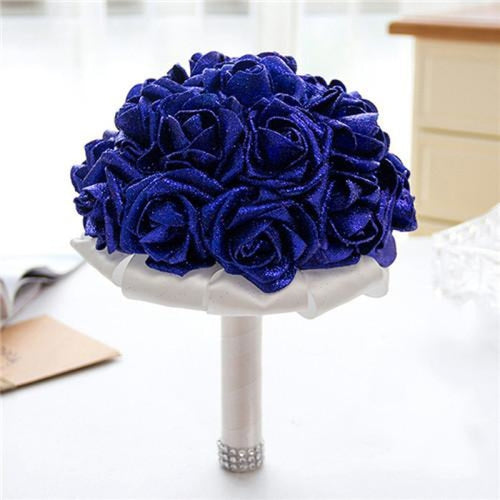 Rose Artificial Flower Wedding Bouquets | Bridelily - royal blue - wedding flowers