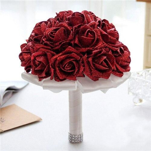 Rose Artificial Flower Wedding Bouquets | Bridelily - red - wedding flowers