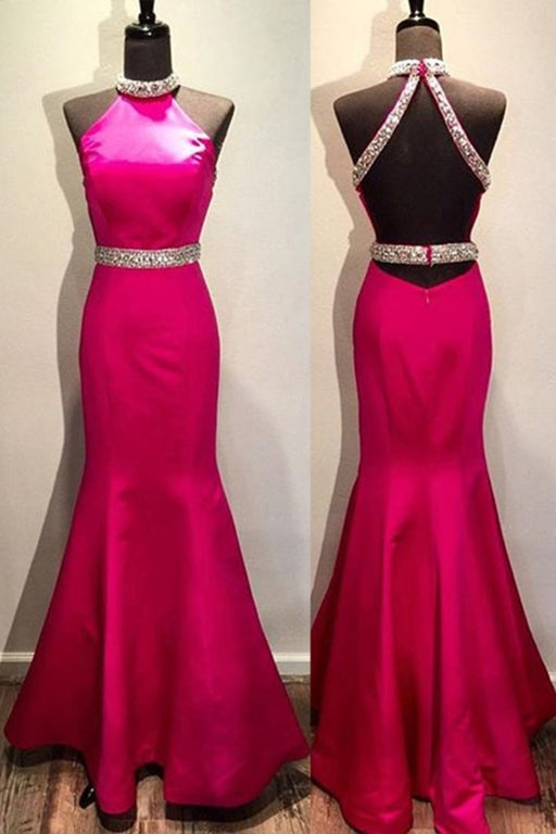 Rosy Chiffon Halter Sequins A-Line Simple Mermaid Long Prom Dress - Prom Dresses