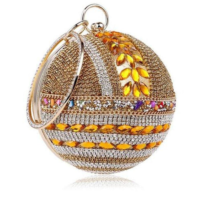 Round Ball Diamond Crystal Chain Wedding Handbags | Bridelily - gold / Mini(Max Length<20cm) - wedding handbags