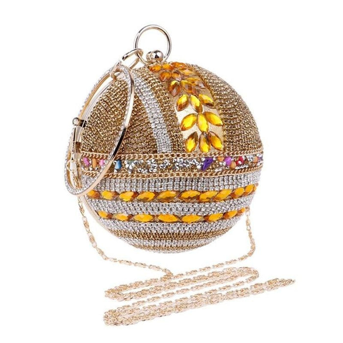 Round Ball Diamond Crystal Chain Wedding Handbags | Bridelily - wedding handbags
