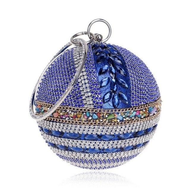 Round Ball Diamond Crystal Chain Wedding Handbags | Bridelily - blue / Mini(Max Length<20cm) - wedding handbags