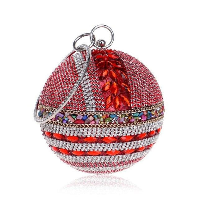 Round Ball Diamond Crystal Chain Wedding Handbags | Bridelily - red / Mini(Max Length<20cm) - wedding handbags