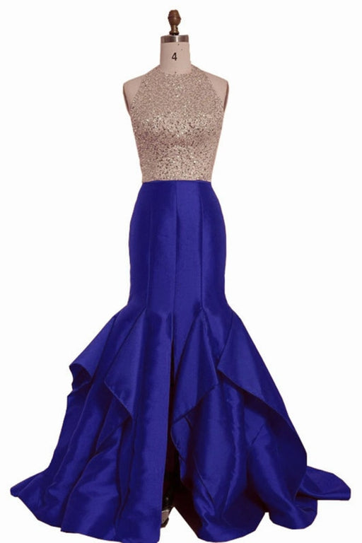 Royal Blue Satin Strapless Long Mermaid Sequins O Neck Backless Prom Dress - Prom Dresses