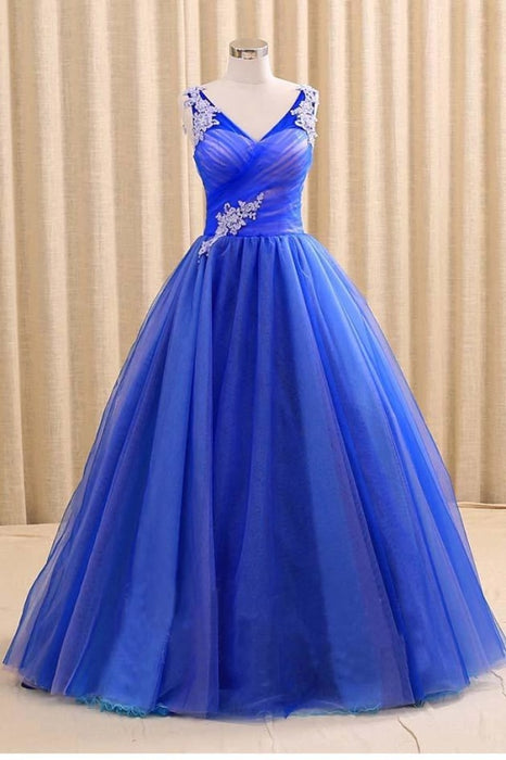 Royal Blue V Neck Sleeveless Prom Dress Floor Length Long Quinceanera Dresses - Prom Dresses