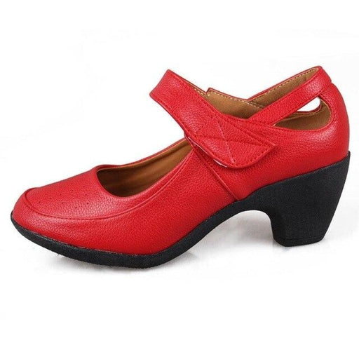 Rubber PU Hook And Loop Heel Jazz Dance Shoes | Bridelily - red / 6 - jazz dance shoes