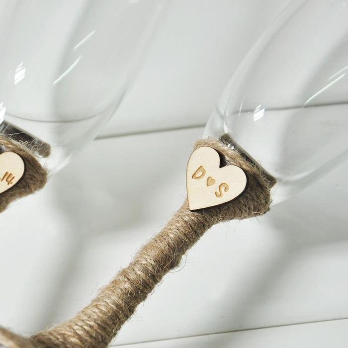 Rustic Wedding Champagne Toasting Flutes | Bridelily - Toasting Flutes