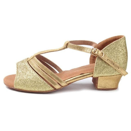 Satin Buckle Open Toe Heels Ballroom Dance Shoes | Bridelily - Gold / 12.5 - ballet dance shoes