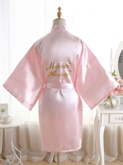 Satin Rhinestone Letter Wedding Sleepwear Robes | Bridelily - 8 / One Size - robes