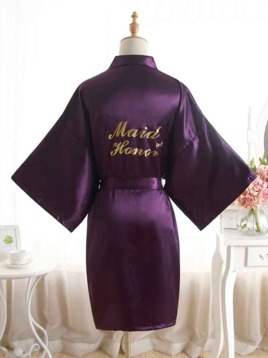 Satin Rhinestone Letter Wedding Sleepwear Robes | Bridelily - 9 / One Size - robes