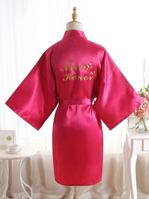 Satin Rhinestone Letter Wedding Sleepwear Robes | Bridelily - 6 / One Size - robes