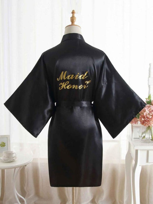 Satin Rhinestone Letter Wedding Sleepwear Robes | Bridelily - 4 / One Size - robes