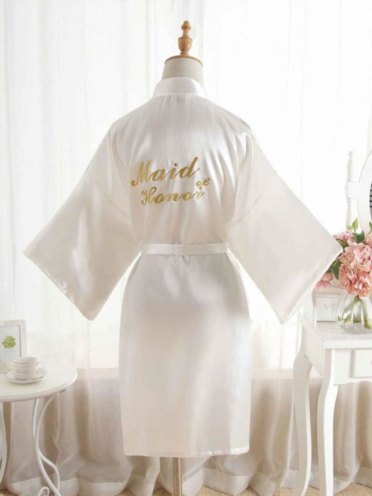 Satin Rhinestone Letter Wedding Sleepwear Robes | Bridelily - 1 / One Size - robes