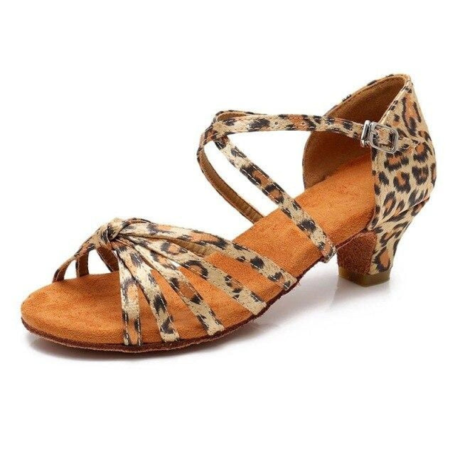 Satin/PU Low Heels Soft Sole Latin Dance Shoes | Bridelily - Leopard / 9.5 - ballroom dance shoes