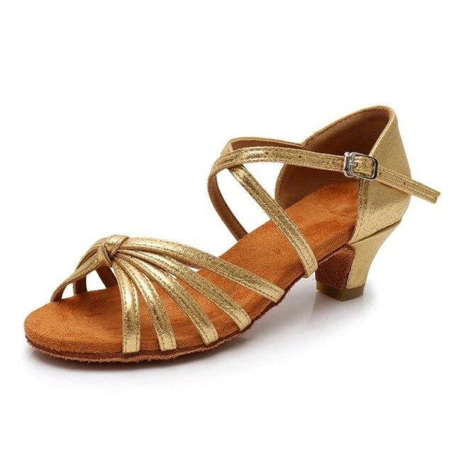 Satin/PU Low Heels Soft Sole Latin Dance Shoes | Bridelily - Gold / 9.5 - ballroom dance shoes