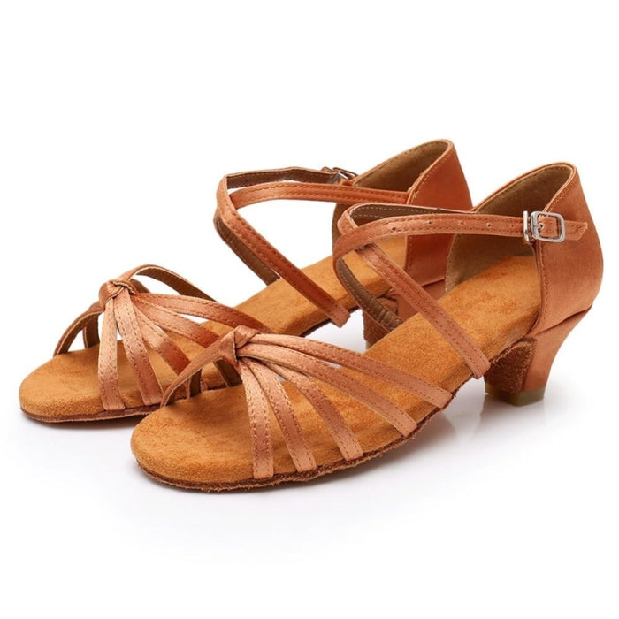 Satin/PU Low Heels Soft Sole Latin Dance Shoes | Bridelily - ballroom dance shoes