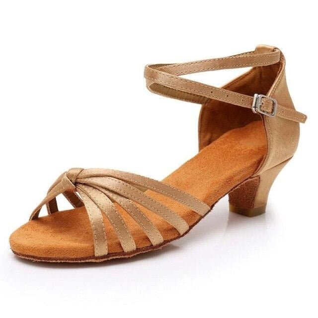 Satin/PU Low Heels Soft Sole Latin Dance Shoes | Bridelily - Beige / 9.5 - ballroom dance shoes