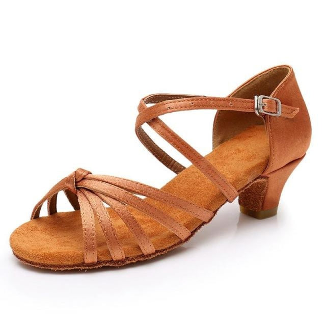 Satin/PU Low Heels Soft Sole Latin Dance Shoes | Bridelily - Brown / 9.5 - ballroom dance shoes