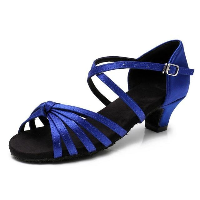Satin/PU Low Heels Soft Sole Latin Dance Shoes | Bridelily - Blue / 9.5 - ballroom dance shoes