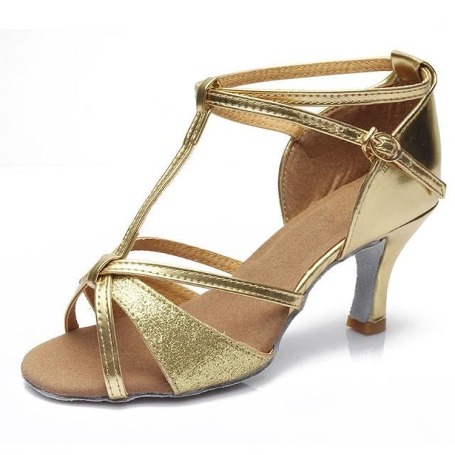 Sequin Buckle Lace-Up Ballroom Dance Shoes | Bridelily - Gold 7CM / 3.5 - ballroom dance shoes