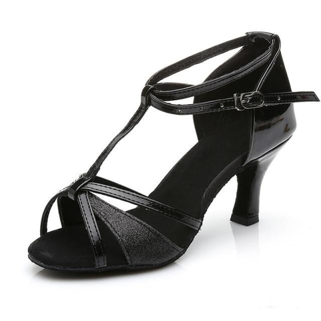 Sequin Buckle Lace-Up Ballroom Dance Shoes | Bridelily - Black 7CM / 3.5 - ballroom dance shoes