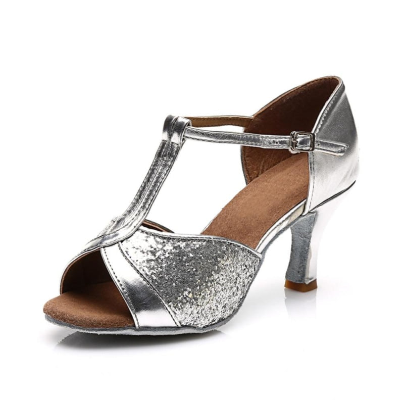 Sequin Glittered Satin Heel Latin Dance Shoes | Bridelily - latin dance shoes
