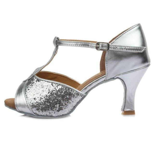 Sequin Glittered Satin Heel Latin Dance Shoes | Bridelily - 7CM Silver / 3.5 - latin dance shoes