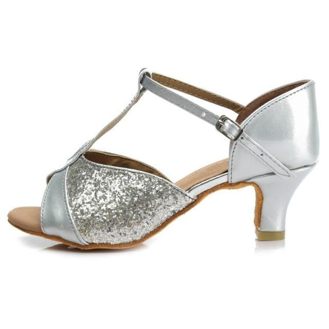 Sequin Glittered Satin Heel Latin Dance Shoes | Bridelily - 5CM Silver / 3.5 - latin dance shoes